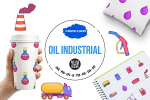 Oil industrial icons set, cartoon