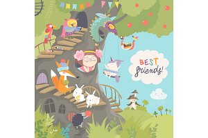 Cute treehouse with little girl and animals