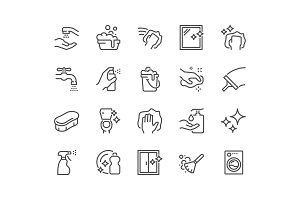 Line Cleaning Icons
