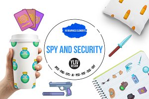 Spy and security icons set, cartoon