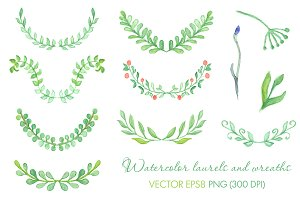 Watercolor laurels and wreaths set