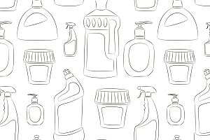 Detergent bottles collection pattern