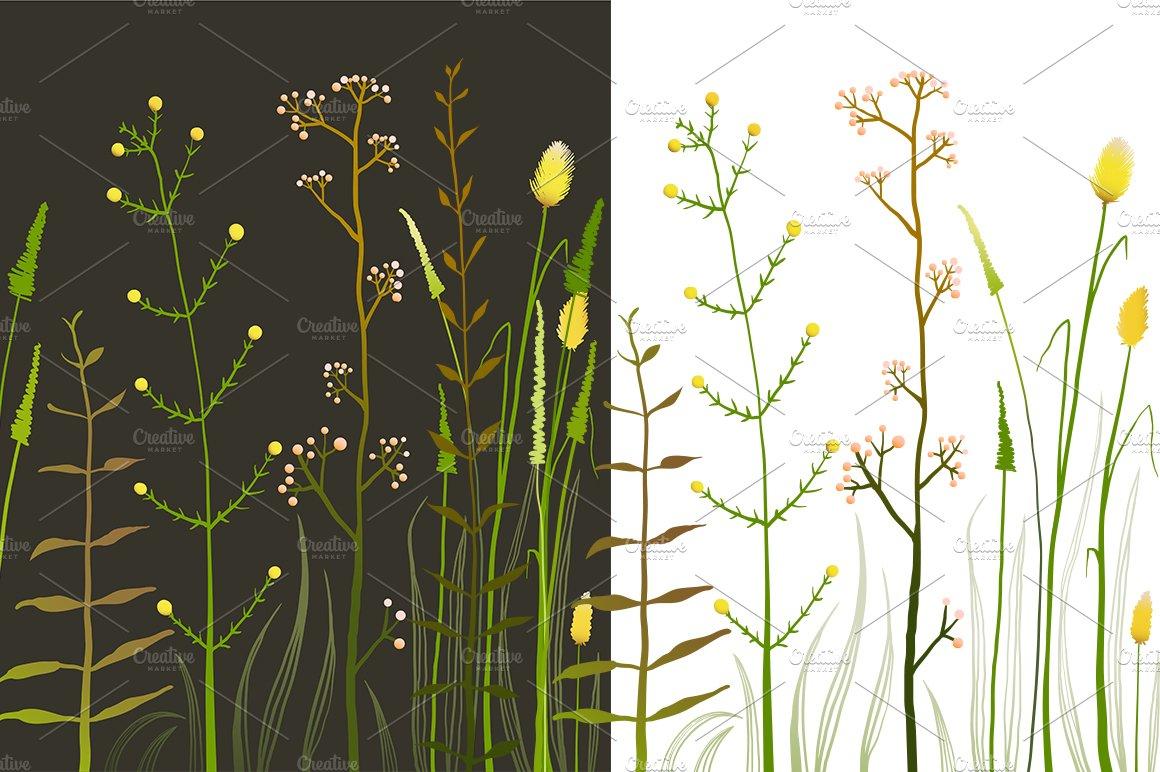 Wild field flowers and grass illustrations creative market mightylinksfo
