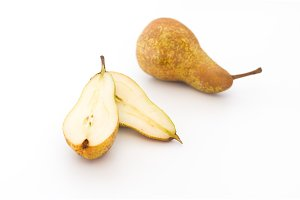 Lobules of pears are isolated. Pear isolated.