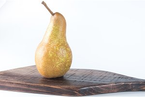 One pear on a white background. Pear isolate.