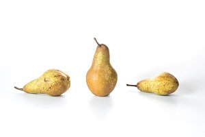 Three pears on a white background. Isolated pears Bera.