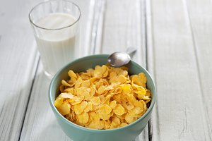 Breakfast cornflakes with milk