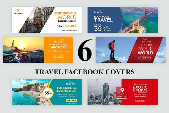6 Travel Facebook Covers Templates Creative Market