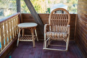 wood furniture in rustic veranda