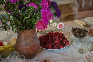 Decorated rustic table