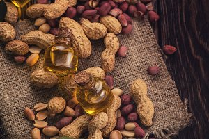 Natural peanut with oil in a glass