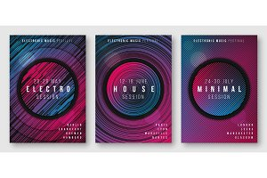 Abstract geometric electronic music posters