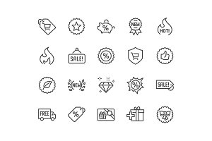 Line Shopping Features Icons