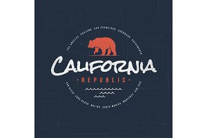 California republic. T-shirt and apparel vector design, typograp