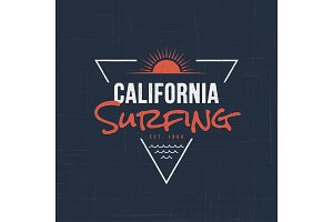 California sufing. T-shirt and apparel design