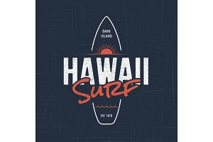 Hawaii surf. T-shirt and apparel design