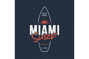 Miami Florida surf. T-shirt and apparel design