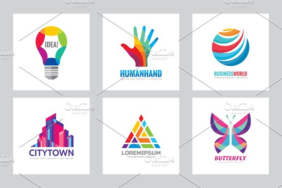 Abstract Positive Business Logo Set