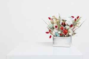 Beauty bouquet of dried flowers