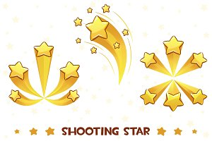 Cartoon different shooting golden stars