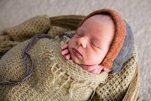 newborn in a basket in a green winding