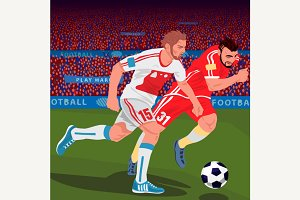 Soccer players from different teams