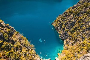 Mountain lake Barracuda on a tropical island, Philippines, Coron, Palawan.
