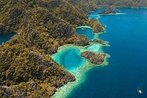 Mountain lake Barracuda on a tropical island, Philippines, Coron, Palawan.