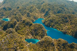 Mountain lake Kayangan on a tropical island, Philippines, Coron, Palawan.