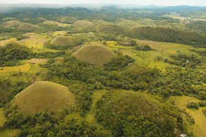 Chocolate Hills in Bohol, Philippines, Aerial view.