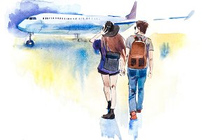 Young couple travelers going to airplane. Tourists passagers walking in to aircraft at airport