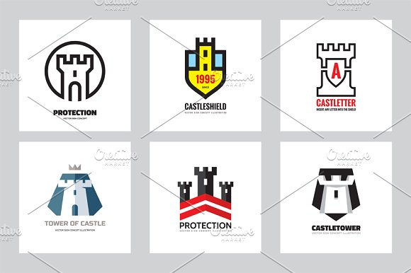 Tower Castle Protection Logo Set