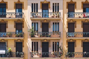 Ornamental balconies of a building