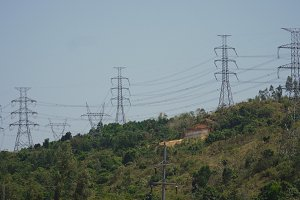 High voltage power line. Philippines, Luzon.