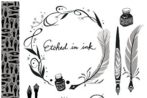 Etched in Ink - Vector Clip Art Set