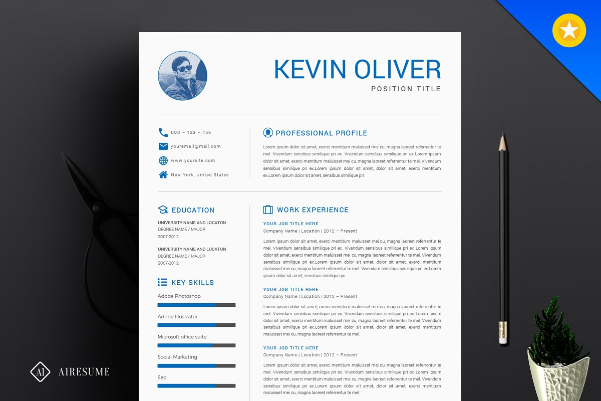 One Page Modern Resume Template ~ Resume Templates ~ Creative Market