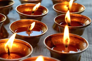 Candles in the indian temple