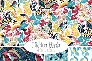 Hidden Birds - Vector Pattern Set