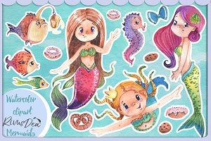 Watercolor little mermaid clipart
