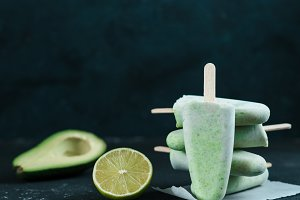 avocado lime popsicle, copy space