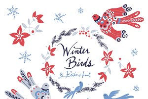 Winter Birds - Vector Clip Art Set