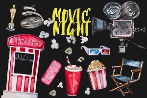 Watercolor Movie Night Clipart Set