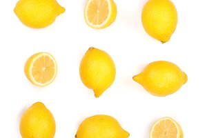 Lemon isolated on white background. Seamless pattern with fruits. Top view. Flat lay