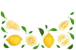 Lemon decorated with green leaves isolated on white background with copy space for your text. . Top view. Flat lay