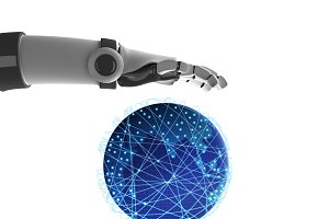 Human hand and robot's hand holding the planet earth, artificial intelligence in futuristic technology concept, 3d illustration