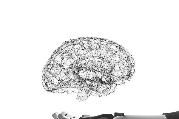Robot hand holding virtual brain is…