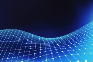 Blue network connection lines. Futuristic background for technology concept, 3d abstract illustration