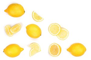 Lemon isolated on white background. Seamless pattern with fruits with copy space for your text. . Top view. Flat lay
