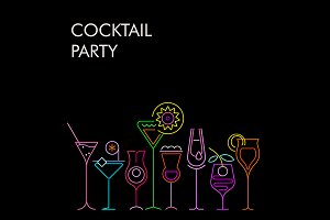 Cocktail Party vector banner designs
