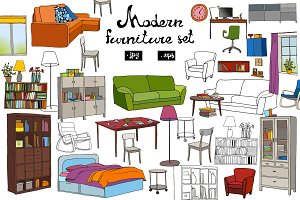 Set of modern furniture objects